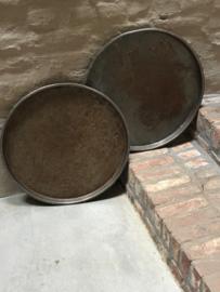 Oud rond metalen zinken zink  dienblad metaal schaal landelijk vintage urban industrieel vintage 55 cm