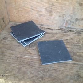 hardstenen leistenen onderzetters vierkant set van 4 stuks grijs