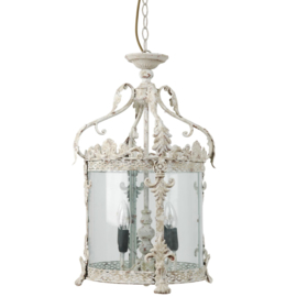 Beige metalen hanglamp glas lantaarn landelijk stoer helder