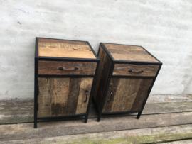Stoer houten industriele landelijke kastjes nachtkastjes kastje halkastje nachtkastje hout metaal industrieel bijzet kast nachtkastje