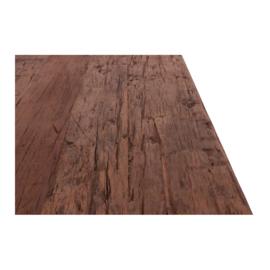 Stoere houten salontafel op wielen teakhouten teakhout hout 150 x 50 cm landelijk stoer industrieel