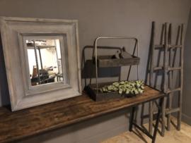 Landelijke etagere tray hout metaal grijs landelijk stoer industrieel dienblad schap rek rekje