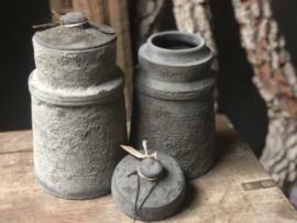 Grijs Stenen pot met deksel kruik landelijk stoer shabby steen