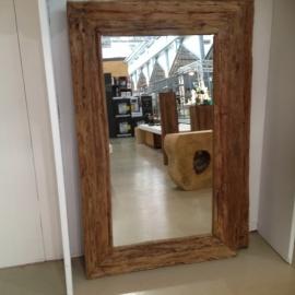 Zeer grote grove teakhouten spiegel lijst 160 x 80 cm grof ruw teakhout landelijk industrieel hout houten