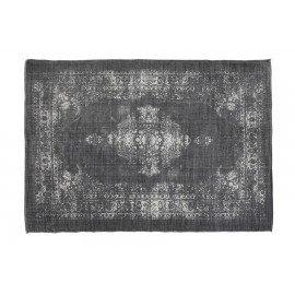 Vintage zwart grijs tapijt kelim vloerkleed sleets wandkleed 230 x 160 cm zwart grijs