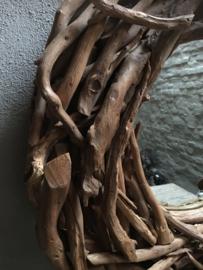 Grote ronde teakhouten spiegel stronk stronkjes drijfhout rond hout landelijk 75 cm