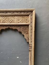 Groot Oud houten lijst sierlijst kozijn 183,5x 100 cm venster paneel landelijk Oosters  tempellijst