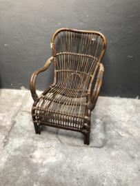Vintage rotan rieten stoel fauteuil landelijk industrieel stoer jaren '70 retro rieten lounge urban tuinstoel