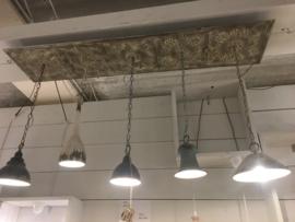 Landelijke hanglamp met 5 lampen lichtpunten landelijk Clayre & Eef grijs beige turkoois