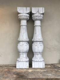 Stoere MEGA grote houten baluster console kandelaar 120 cm lichtgrijs balusters landelijk stoer grijs