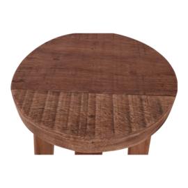Rond houten kruk krukje landelijk stoer robuust naturel 26 x 26 x 46 cm
