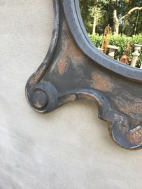 Prachtige grote Houten spiegel osseoogspiegel osseoog ossenoog oeil de boeuf landelijk mat grijs beige vergrijsd hout