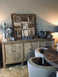 Ruw houten wandpaneel landelijk stoer patchwork 100 x 100 cm hout houtsnijwerk