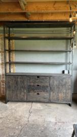Gave industriële landelijke grote zwart grijze kast 240 x 200 x 45 cm rek schap winkelkast legplanken lades deurtjes stoer hout metaal
