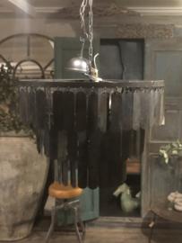 Zwart grijs metalen Hanglamp Lamel 60 cm kroonluchter stoer industrieel landelijk