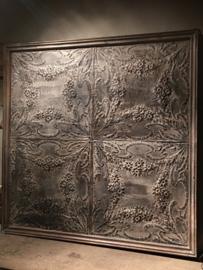 Enorm groot Wandpaneel wandornament 130 cm vergrijsd hout metaal landelijk sober stoer industrieel