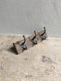 Railway oude vergrijsd houten kapstok oud hout stoer landelijk plank grof nerf wandhaken wandkapstok industrieel