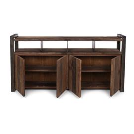 Industrieel landelijk dressoir kast tv meubel televisie 4 deurs deurtjes kast metaal hout 190 x 40 x 95 cm