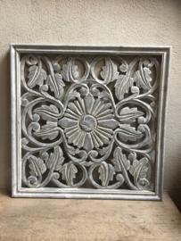 Groot grijs houten wandpaneel grey wash 70 x 70 cm wandornament