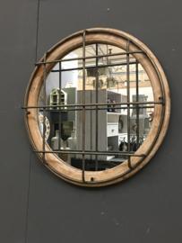 Industriële landelijke spiegel hout metaal rond 60 cm vintage industrieel landelijk tralies