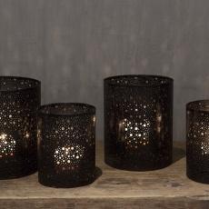Metalen kandelaar windlicht set van 2 stuks zwart bruin landelijk industrieel vintage metaal