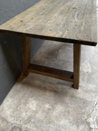 Stoere massief eiken houten tafel 240 X 100 X H78cm eettafel boerentafel stoer landelijk industrieel