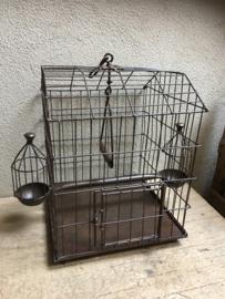 Leuk Brocant metalen ijzeren vintage vogelkooitje vogelkooi metaal kandelaar ijzer metalen kooi kooitje landelijk industrieel metaal