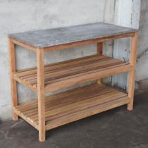 Stoere houten werktafel werkbank keukeneiland tafel met metalen blad top industrieel landelijk vintage schap 150 X 75 X 76 cm rek kast