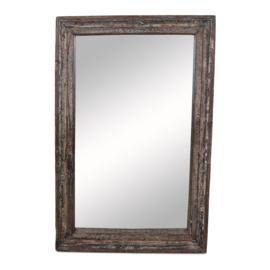 Stoere grote oud vergrijsd houten spiegel 147 x 97 x 13 cm grijs zwart wit India