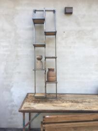 Hoog smal metalen houten wandrek wanddecoratie rek schap 155 x 45 x 22 cm industrieel landelijk stoer vintage
