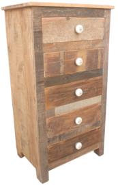 Stoere oude houten teakhouten sloophouten kast 109 x 60 x 40 cm kastje ladekast landelijk industrieel massief hout comode stoer vergrijsd ladenkastje sidetable wastafel