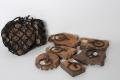 Oude houten servetring van stempel textielstempel landelijk vintage industrieel