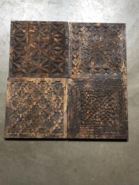 Stoere oude houten wandpanelen Plaat hout tegel tegels paneel bewerkt houtsnijwerk vintage Luik plank Wandpaneel landelijk  stoer wandornament 30 x 30 Naturel bruin