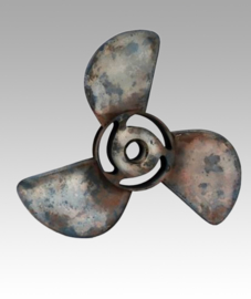 Grote metalen propellor decoratie wanddecoratie 95 cm industrieel stoer metaal vintage