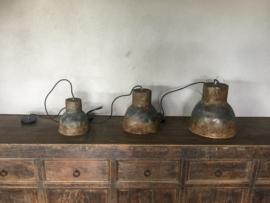 Keramiek metaallook hanglamp L grijs bruin industrieel landelijk ceramiek