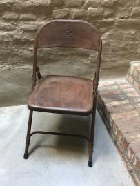 Vintage oude metalen klapstoel klapstoeltje klapstoeltjes bistro klapstoelen industrieel landelijk