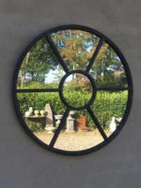 Ronde metalen spiegel stalraamspiegel kozijn rond 80 cm tuinspiegel metaal landelijk industrieel grijs grijze antraciet