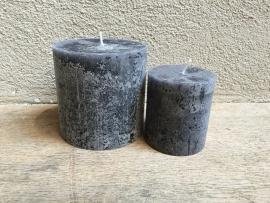 Kaars stompkaars rustiek grijs antraciet  donkergrijs mat zwart 80/68