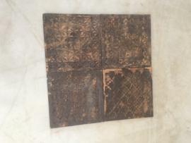 Stoere oude houten wandpanelen Plaat hout tegel tegels paneel bewerkt houtsnijwerk vintage Luik plank Wandpaneel landelijk stoer wandornament 40 x 40 Old brown bruin doorleefd geleefd sleets