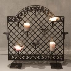 Groot smeedijzeren kaarsenrek kandelaar raamscherm hek rek landelijk vintage industrieel zwart