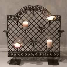 Groot metalen kandelaar raamwerk kaarsenrek kaarsen standaard raamscherm paneel landelijk industrieel vintage