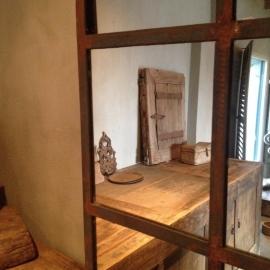 Groot grote stalraamspiegel tuinspiegel spiegel stalraam kozijn venster 150 x 70 cm