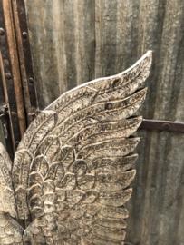 Groot houten paneel vleugels op voet raamscherm decoratie landelijk vergrijsd