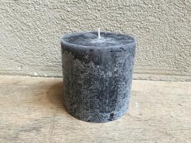 Grote Stompkaars kaars rustiek 100/100 antraciet grijs donkergrijs mat zwart