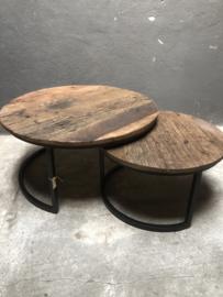 Set van 2 tafeltjes truckwood landelijk stoer Salontafel bijzettafel rond tafel industrieel landelijk