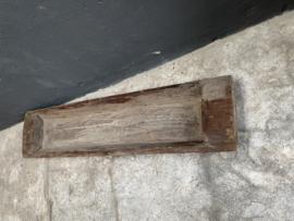 Stoere oude houten trog schaal bak landelijk Aura Peeperkorn