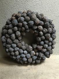 Ata fruit wreath krans grijs 55 cm landelijk stoer kransje