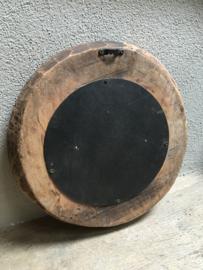 Ronde houten spiegel landelijk stoer robuust schaal bak robuust oud hout spiegeltje rond