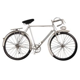 Metalen grijze wanddecoratie fiets grijs zwart 62 x 34 x 5 cm muurdecoratie 3D jongenskamer reliëf metaal industrieel vintage