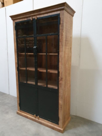 Stoere kast servieskast industrieel landelijk vintage hout metaal stoer robuust met glas vitrinekast